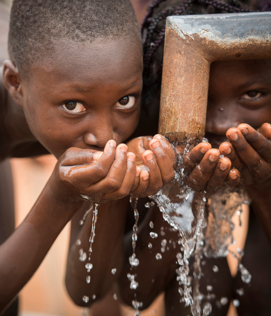 boys drinking water